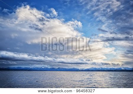 Lake Tutzing With Clouds