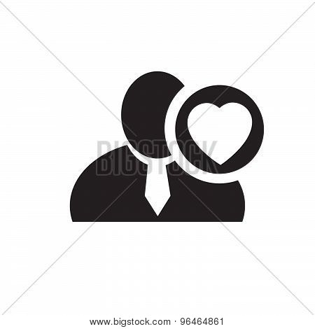 Black Man Silhouette Icon With Heart Love Symbol In An Information Circle, Flat Design Icon For Foru