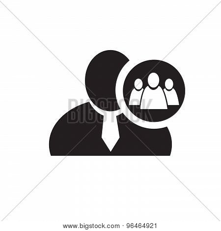 Black Man Silhouette Icon With Referral Or Group Symbol In An Information Circle, Flat Design Icon F