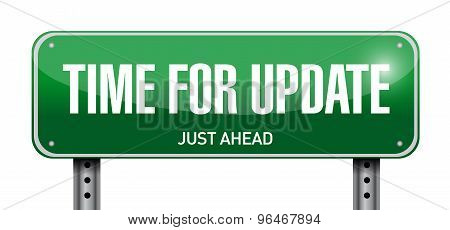 Time For Update Road Sign Illustration