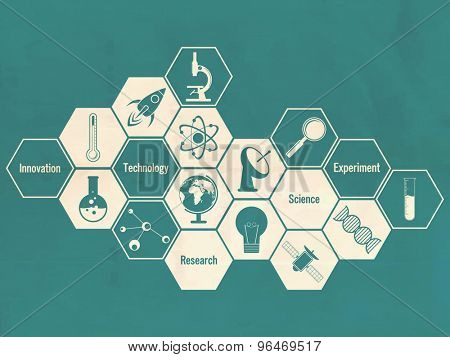 Illustration of creative signs and symbols of science on green background.