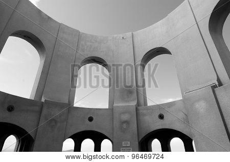 San Francisco, California - July 19, 2015: Looking up at Coit Tower mural rotunda in San Francisco, California. (BW) Horizontal