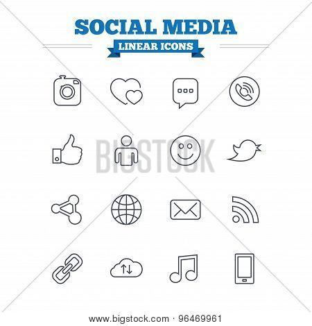 Social media linear icons set. Thin outline signs. Vector