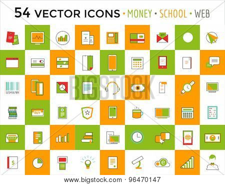 Vector objects icons set. Business or School and Money symbols. Stock design elements.