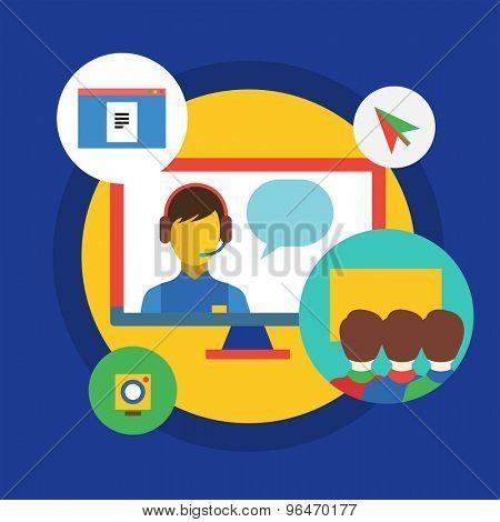 Webinar vector illustration. Online School, Courses and Communication Teamwork symbols. Stock design elements