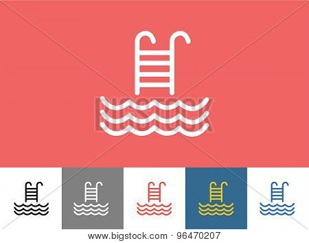 Pool vector icon isolated. Waves, Summer or Stairs and Vacation symbol. Stock design element.