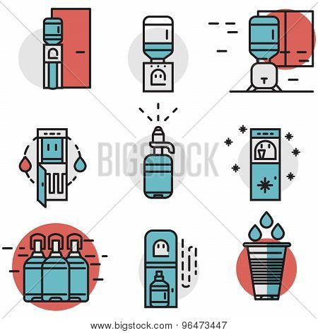 Water cooler flat line colored vector icons