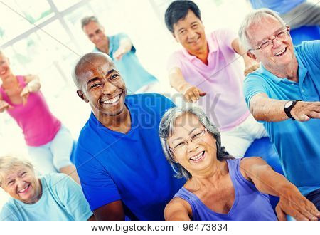 Group Healthy People Fitness Exercising Concept