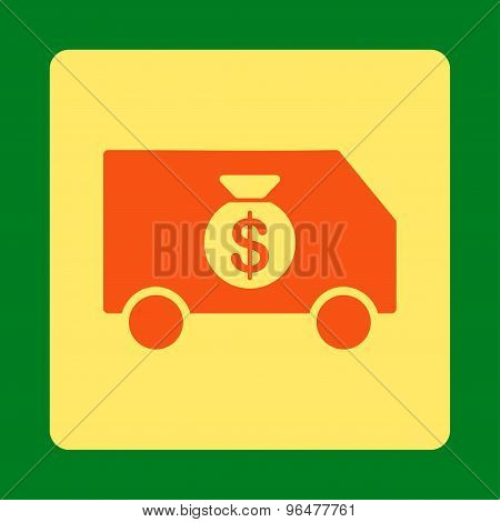 Collector Car icon from Commerce Buttons OverColor Set. Glyph style is orange and yellow colors, flat square rounded button, green background. poster