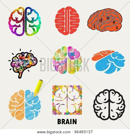 Collection Of Brain, Creation And Idea Icons And Elements.creative Brain Abstract Vector Logo Design