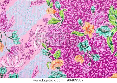 Close up Fabric Batik pattern design in Thailand poster