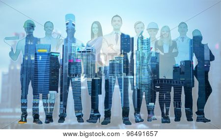 people, profession, qualification, employment and success concept - happy businessman over group of professional workers over city background poster