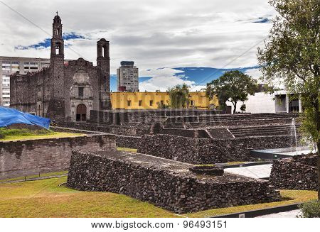 Plaza of the Three Cultures Plaza de las Tres Culturas Ancient Aztec City of Tlatelolco where Aztecs staged last battle against Cortez in Mexico City Mexico. poster