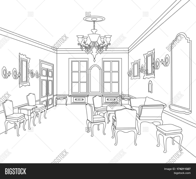 Interior outline vector photo free trial bigstock furniture blueprint architectural design living room malvernweather Images