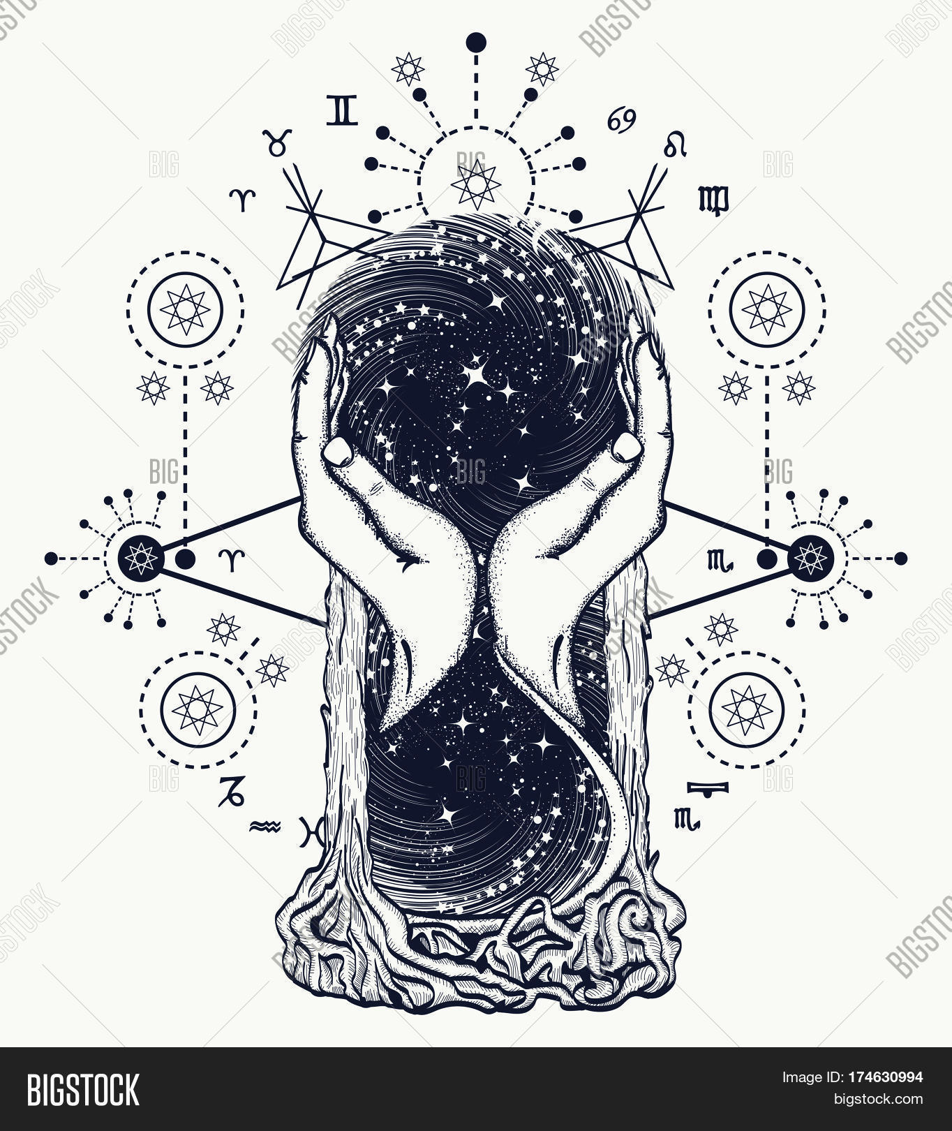 Space hourglasses tattoo concept vector photo bigstock for Symbols of death tattoos