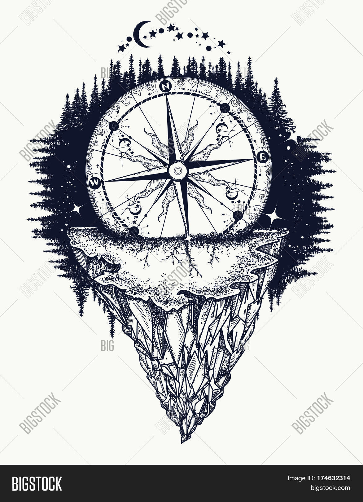 Mountain Antique Vector Photo Free Trial Bigstock
