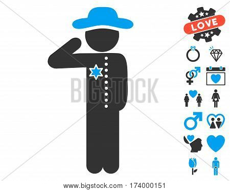 Gentleman Officer pictograph with bonus decoration symbols. Vector illustration style is flat iconic blue and gray symbols on white background.