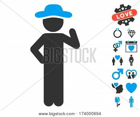 Gentleman Proposal pictograph with bonus passion graphic icons. Vector illustration style is flat iconic blue and gray symbols on white background.