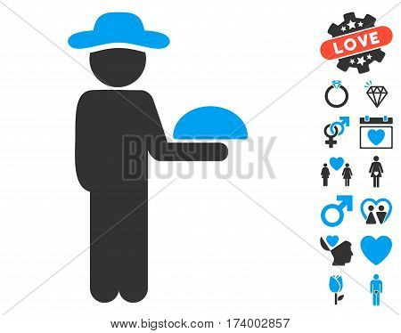 Gentleman Waiter pictograph with bonus lovely design elements. Vector illustration style is flat iconic blue and gray symbols on white background.