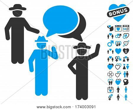 Gentlemen Discussion pictograph with bonus lovely design elements. Vector illustration style is flat iconic blue and gray symbols on white background.