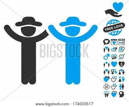 Hands Up Gentlemen pictograph with bonus decorative pictograms. Vector illustration style is flat iconic blue and gray symbols on white background.
