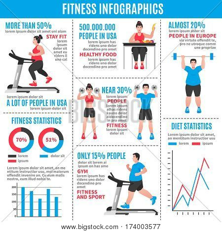 Fitness colored infographics with diet statistics fitness statistics and percentage ratio vector illustration