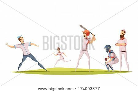 Baseball players design concept with cartoon sportsman figurines engaged in game on sports field flat vector illustration