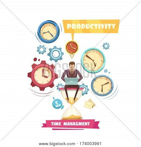 Time management retro cartoon concept with productivity of man sitting on hourglass on white background vector illustration