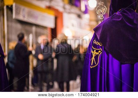 Badajoz, Spain - March 22, 2016: Easter week (Semana Santa), Nazarene processions, celebrations of international interest