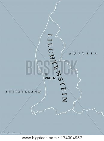 Liechtenstein political map with capital Vaduz, national borders and neighbor countries. Principality and landlocked microstate in Central Europe. Gray illustration with English labeling. Vector.