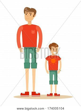 father with his son. Cartoon character illustration of people. Isolated on white background. Stock vector illustration for poster, greeting card, website, ad.