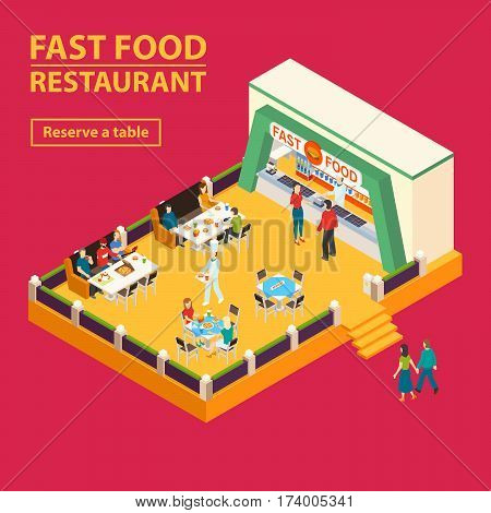 Fast food square banner with isometric food court interior and people characters with reserve table button vector illustration