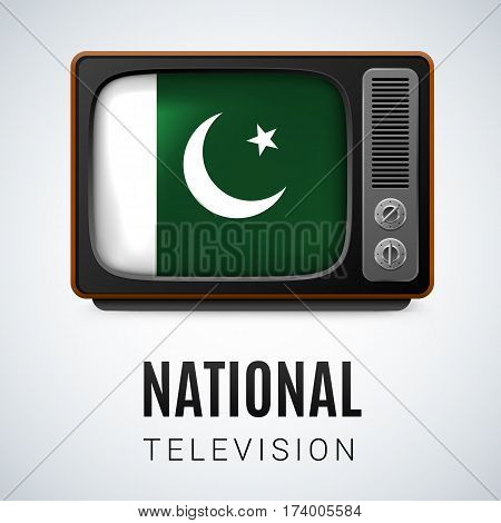 Vintage TV and Flag of Pakistan as Symbol National Television. Tele Receiver with Pakistani flag