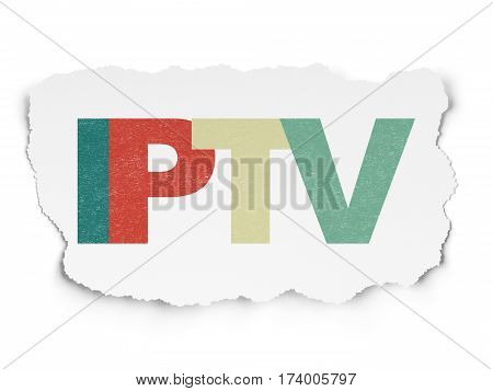 Web development concept: Painted multicolor text IPTV on Torn Paper background