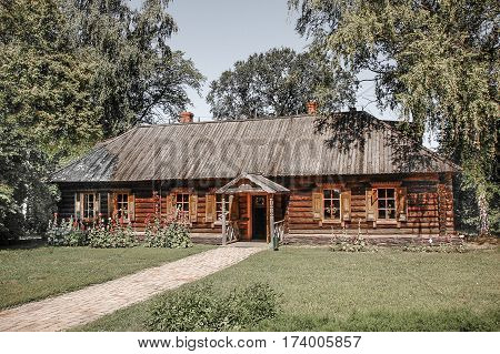 Wooden house on the nature in the forest.