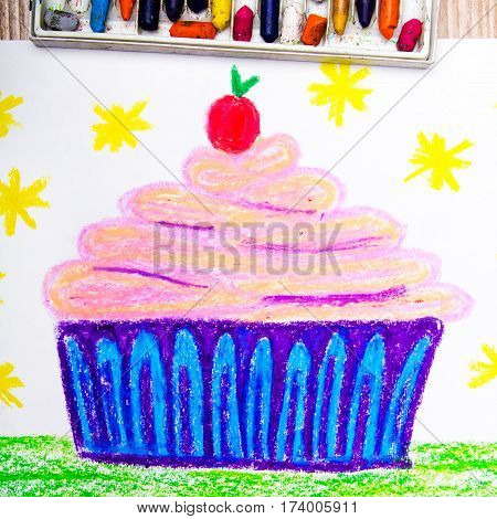 Colorful drawing -tasty cupcake with cream and cherry