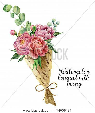 Watercolor bouquet with peony. Floral illustration with peony and eucalyptus branches isolated on white background. Nature print for design or card.