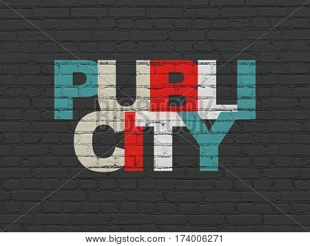 Advertising concept: Painted multicolor text Publicity on Black Brick wall background