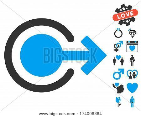 Logout icon with bonus valentine pictures. Vector illustration style is flat iconic blue and gray symbols on white background.