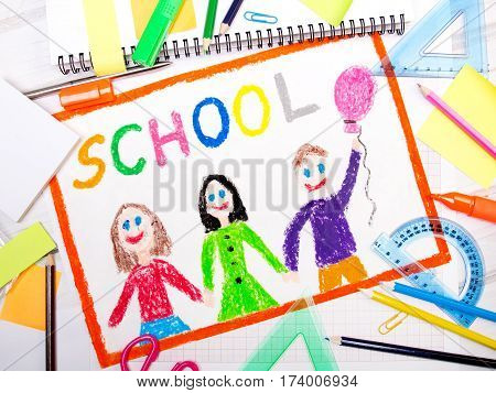 "Colorful drawing with word ""school"" and school accessories"