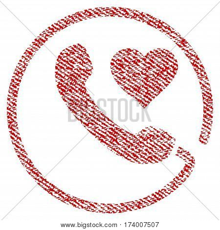 Love Phone vector textured icon for overlay watermark stamps. Red fabric vectorized texture. Symbol with scratched design. Red ink rubber seal stamp with fiber textile structure.