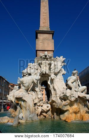 Italy Rome Piazza Navona the fountain of four rivers designed by G.L.Bernini.