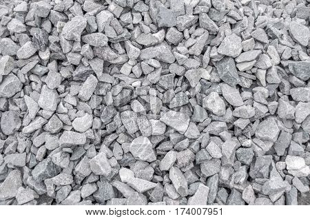 Closeup of crushed gravel as background or texture.