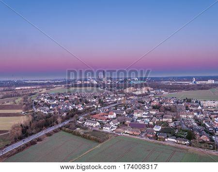 Aerial Panorama of Duisburg Muendelheim in Germany