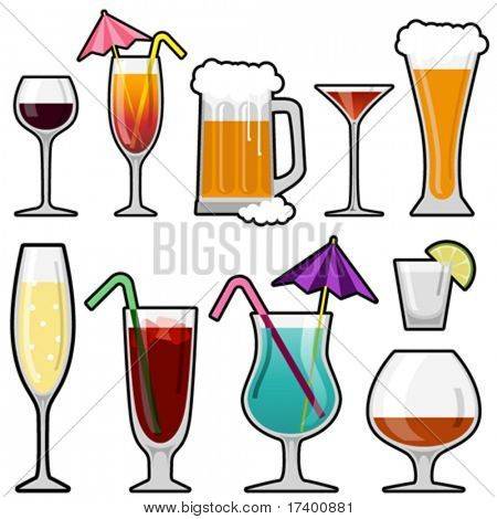 alcohol drink icon set