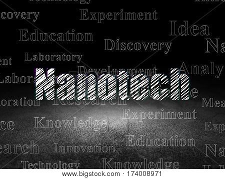 Science concept: Glowing text Nanotech in grunge dark room with Dirty Floor, black background with  Tag Cloud