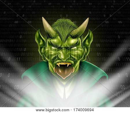 Internet troll and trolling monster using social media to provoke torment and anonymously bully members of the online community with 3D internet elements.