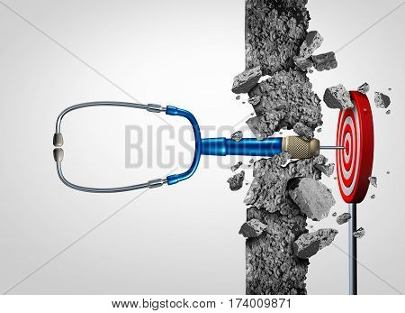 Health care success medical research breakthrough and medicine discovery as a doctor stethoscope shaped as a stethoscope breaking a wall to find a target as a cure metaphor with 3D illustration elements.