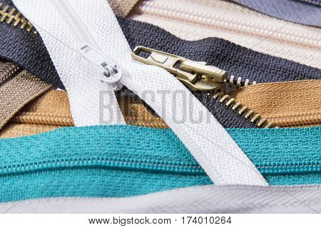 Colorful zippers texture for background, copy space