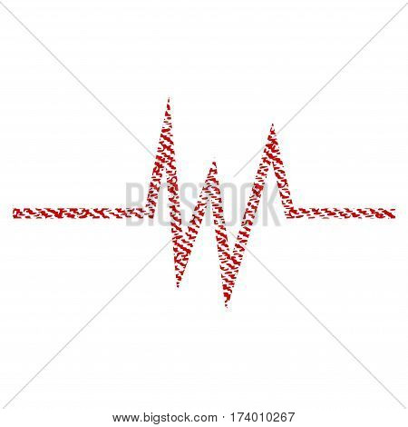 Pulse Signal vector textured icon for overlay watermark stamps. Red fabric vectorized texture. Symbol with dirty design. Red ink rubber seal stamp with fiber textile structure.